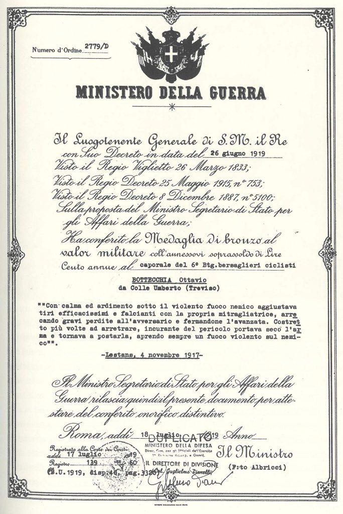 La pergamena che testimonia il conferimento al caporale Ottavio della medaglia di bronzo al valor militare