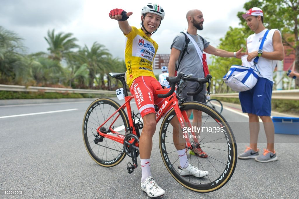 Very happy Kevin Rivera Serran from Androni Sidermec Bottecchia team at the end of the fifth and final stage after he wins the General Classement of the 2017 Tour of China 2.  On Sunday, 24 September 2017, in Hengqin district, Zhuhai City, Guangdong Province, China. (Photo by Artur Widak/NurPhoto)